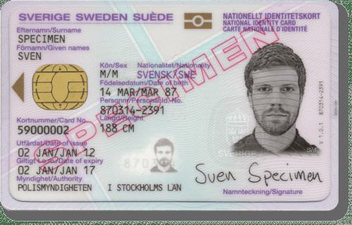 Nationellt  id-kort från polisen&#10Ring polisen för kontroll, telefonnummer 114 14 (int. +46 77 114 14 00).