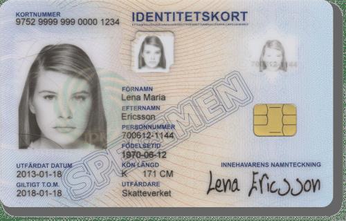 Id-kort från Skatteverket Ring Oberthur för kontroll, telefonnummer 0152-266 89.