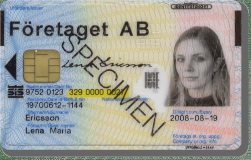 SIS-märkt id-kort från Oberthur Ring Oberthur för kontroll, telefonnummer 0152-266 89.
